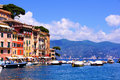 Portofino luxury picturesque harbor at the village of italy Stock Image