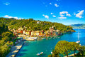 Portofino luxury village landmark panoramic aerial view liguri and yacht in little bay harbor liguria italy Stock Photography