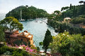 Portofino view from above of bay liguria italy Stock Images
