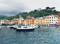 Portofino view of famous village on ligurian coast italy Stock Photo