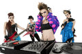 Porträt aller weiblichen punk rock band über weißem hintergrund Stockbild