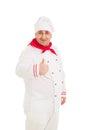 Porträt der tragenden weißen uniform chef showing thumb up zeichens Stockfotos