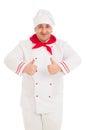 Porträt von chef showing thumb up zeichen mit beiden händen Lizenzfreie Stockfotos