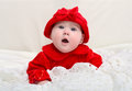 Portrair of a cute month old baby dressed in red amazingly looking at camera with open mouth Royalty Free Stock Photography