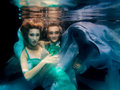 Portrair of young dancing couple underwater Royalty Free Stock Photo