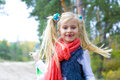 Portrait of active five year old girl outdoors Royalty Free Stock Photo