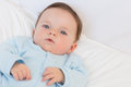 Portrait of adorable baby in bed high angle boy Royalty Free Stock Photography