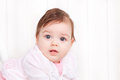 Portrait adorable baby girl of cute on white background Royalty Free Stock Image