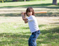 Portrait of adorable child playing baseball Stock Image