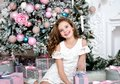 Portrait of adorable happy smiling little girl child in princess dress holding gift box Royalty Free Stock Photo
