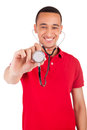 Portrait of African American male doctor or nurse smiling isolat Royalty Free Stock Photo