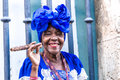 Portrait of african cuban woman smoking cigar in Havana, Cuba Royalty Free Stock Photo