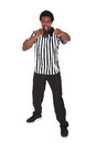 Portrait of african referee isolated over white background Stock Photo