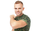 Portrait of aggressive young army soldie soldier threatened to cut the throat isolated on white background Stock Photos