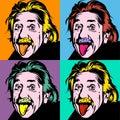 Portrait of Albert Einstein, physicist, chemist and mathematician in retro comic style. Vector pop art background Royalty Free Stock Photo