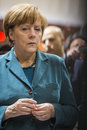 Portrait of angela merkel chancellor of germany hanover april at hannover messe april the hannover messe is the largest industrial Stock Photography