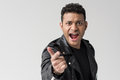 Portrait of angry african american man yelling and pointing isolated Royalty Free Stock Photo