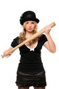 Portrait of angry young lady with a bat in their hands Royalty Free Stock Photos