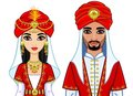 Portrait of an animation Arab family in ancient clothes.