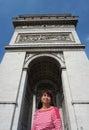 Portrait at the arc de triumph photo latina woman in paris france Stock Photography