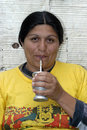 Portrait of argentinian woman drinking mate argentina closeup with glowing eyes from laughing she is the argentine national drink Stock Photography
