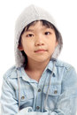 Portrait of asian boy with hood isolated on white background Stock Photos