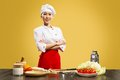 Portrait of asian cook cooks crossed her arms Stock Photography