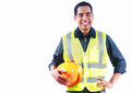 Portrait asian engineer man holding yellow helmet isolalated on white background Stock Photo