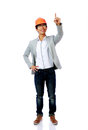 Portrait of asian engineer man point up full length isolated on white background Royalty Free Stock Images