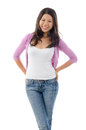 Portrait of asian girl smiling and standing isolated over white background Stock Photos