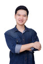 Portrait of asian man wearing jeans shirt crossed arms and weared close up shot on white background Royalty Free Stock Image