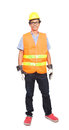 Portrait of asian worker man wearing safety jacket hard hat and leather hand glove protection isolated white background Royalty Free Stock Photo