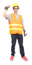 Portrait of asian worker man wearing safety jacket hard hat and leather hand glove protection isolated white background Royalty Free Stock Images