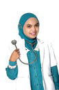 Portrait of asian young woman doctor on white background Royalty Free Stock Photography