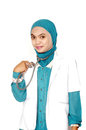 Portrait of asian young woman doctor on white background Royalty Free Stock Images