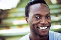 Portrait of an attractive african american man laughing closeup Stock Photos