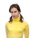 Portrait attractive beautiful pretty cute young brown haired caucasian woman lady girl female person model yellow clothes sport Royalty Free Stock Photos