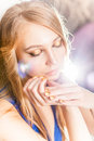 Portrait of attractive blond girl with golden minx manicure Royalty Free Stock Photo