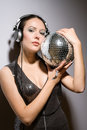 Portrait attractive brunette mirror ball her hands Royalty Free Stock Image
