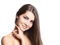 Portrait of attractive caucasian smiling woman