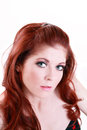 Portrait Attractive Red Head Young Caucasian Woman Stock Images