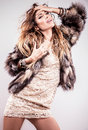 image photo : Portrait of attractive stylish woman in fur against grey background.