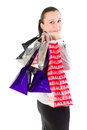 Portrait of attractive woman after shopping Royalty Free Stock Photo