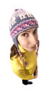 Portrait attractive young brown haired caucasian woman woollen cap dressed yellow looking camera smiling wondering isolated white Stock Photos