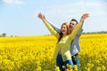 Portrait of attractive young couple in love outdoors. Royalty Free Stock Photo