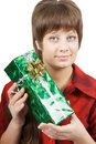 Portrait of an attractive young woman with a gift Royalty Free Stock Image