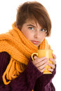 Portrait of autumnal woman with mug of hot beverage isolated on white background Stock Photos