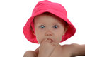 Portrait of Baby Girl with pink hat Stock Image