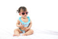 Portrait baby girl in swimsuit on white background Royalty Free Stock Photography