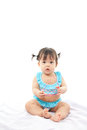 Portrait baby girl in swimsuit on white background Stock Photo